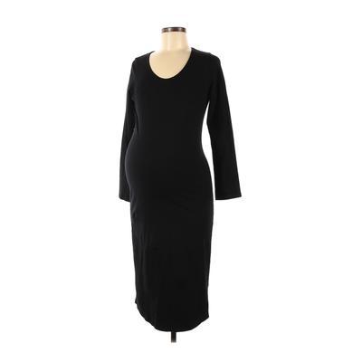Monrow Mommy Casual Dress - Midi: Black Solid Dresses - Used - Size Medium Maternity