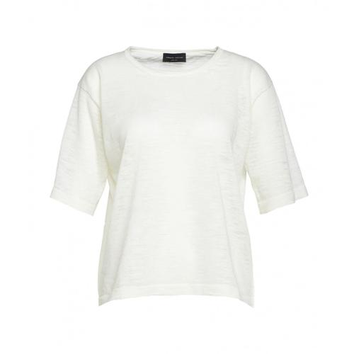 Roberto Collina Damen T-Shirt aus Leinen Weiß