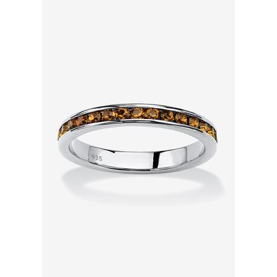 Plus Size Women's Sterling Silver Simulated Birthstone Stackable Eternity Ring by PalmBeach Jewelry in November (Size 8)