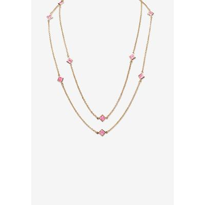 """Plus Size Women's Gold Tone Endless 48"""" Necklace with Princess Cut Birthstone by PalmBeach Jewelry in June"""