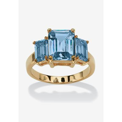 Plus Size Women's Yellow Gold-Plated Simulated Emerald Cut Birthstone Ring by PalmBeach Jewelry in March (Size 7)