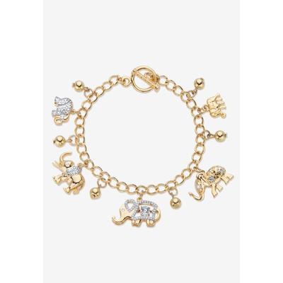 Plus Size Women's Gold Tone Round Crystal Elephant Charm Bracelet by PalmBeach Jewelry in Crystal