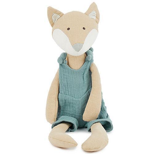 Baby Kuscheltier Spieltier aus Leinen & Musselin ca. 40cm Plüsch Greifling Baby Kuscheltiere blau