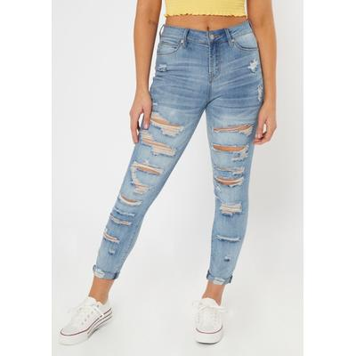 Rue21 Womens Medium Wash Ripped Cuffed Recycled Jeggings - Size 0