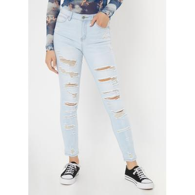 Rue21 Womens Light Wash Ripped Recycled Jeggings - Size 3