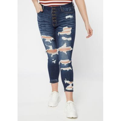 Rue21 Womens Plus Size Dark Wash 5 Button Ripped Jeggings - Size 24