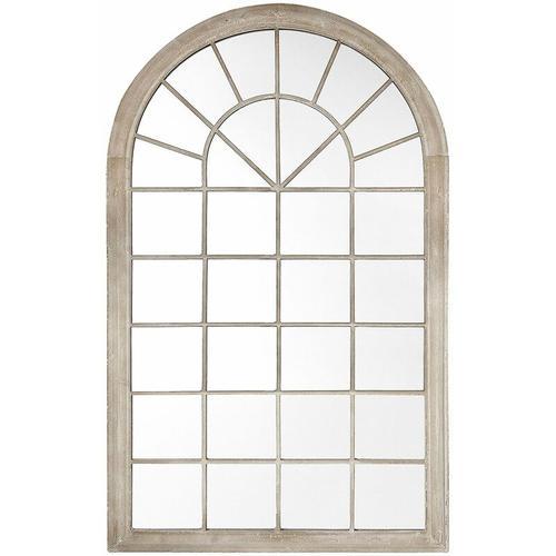 Wandspiegel Beige 75 x 130 cm Metall mit Glas Fensteroptik im gotischen Stil
