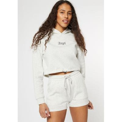 Rue21 Womens Heather Gray Angel Bungee Cropped Hoodie - Size L