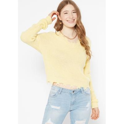 Rue21 Womens Yellow Space Dye Destructed Sweater - Size L