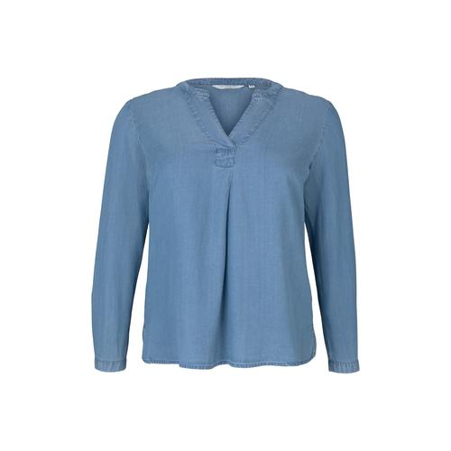 TOM TAILOR MY TRUE ME Damen Lyocell Jeansbluse, blau, Gr.46