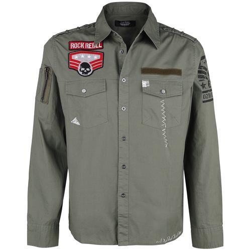 Rock Rebel by EMP grünes Army Hemd mit Patches und Brusttaschen Herren-Langarmhemd - oliv