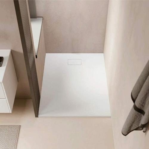 Duschwanne bodengleich PIATTO aus SoliCast® weiß 80 cm x 80 cm