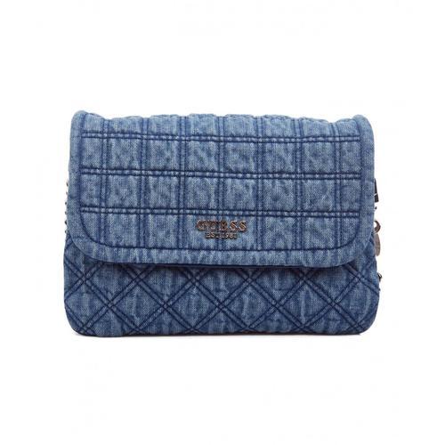 Guess Damen Umhängetasche aus gestepptem Denim Kamina Blau