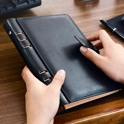 Cahier d'affaires en cuir noir à feuilles mobiles A5, fournitures de bureau A6 B5 classeur à anneaux