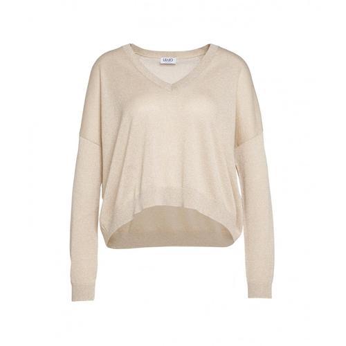 Liu Jo Damen Lurex Sweater Gold