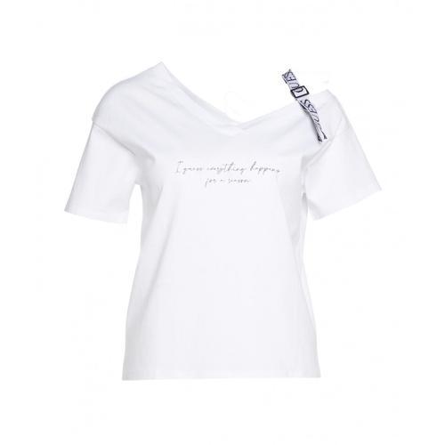 Guess Damen T-Shirt mit Logostreifen Weiß