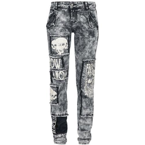 Rock Rebel by EMP Skarlett - graue Jeans mit starker Waschung, Prints und Patches Damen-Jeans - grau