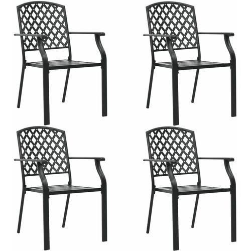 YOUTHUP Gartenstühle 4 Stk. Mesh-Design Stahl Schwarz