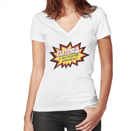 Clitoria Logo Women's Fitted V-Neck T-Shirt