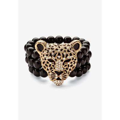 "Plus Size Women's Goldtone Onyx Leopard Stretch Bracelet (42mm), Round Crystal, 8.5"" by PalmBeach Jewelry in Gold"