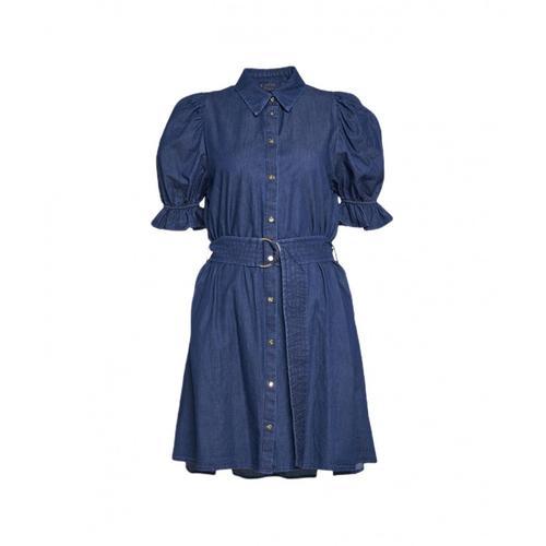 Kaos Damen Hemdkleid aus Denim Blau