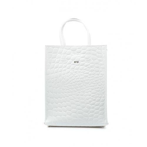 N21 Damen Handtasche im Krokodilmuster Weiß