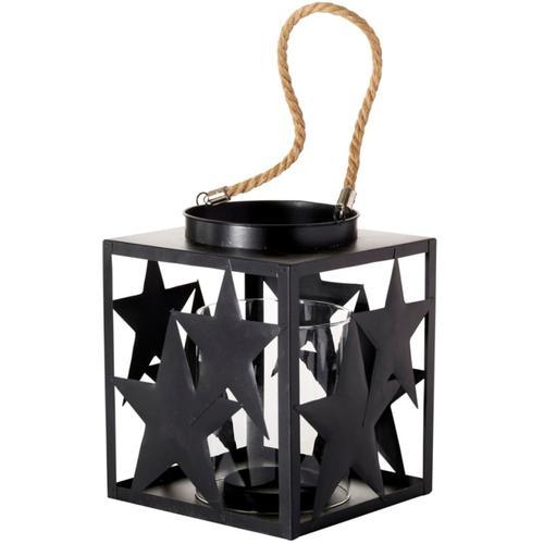 Windlicht Stella, mit Glaseinsatz, Höhe 23 cm schwarz Kerzenhalter Kerzen Laternen Wohnaccessoires