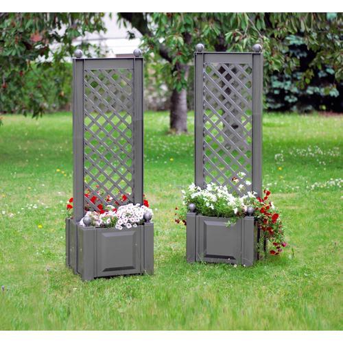 KHW Spalier, mit Pflanzkasten, BxTxH: je 43x43x140 cm grau Spaliere Gartendekoration Gartenmöbel Gartendeko Spalier