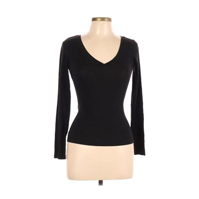 Ambiance Apparel - Ambiance Apparel Long Sleeve T-Shirt: Black Solid Tops - Size Medium