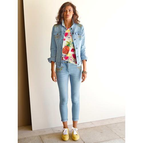 AMY VERMONT, Jeans mit bunter Stickerei, blau