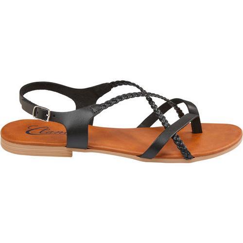 Sandale geflochten, schwarz, Gr. 36