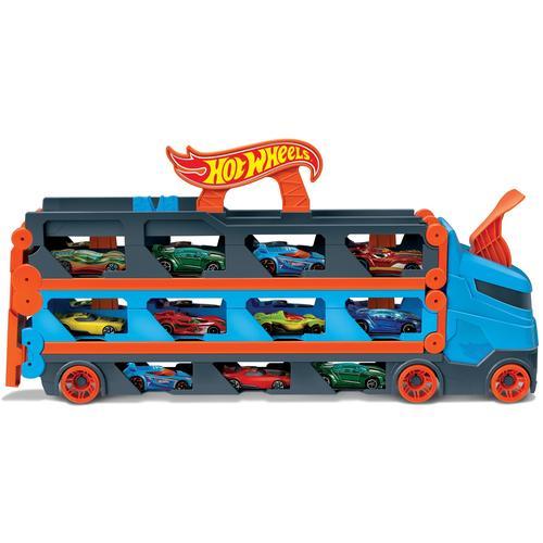Hot Wheels Spielzeug-Transporter 2-in-1 Rennbahn-Transporter, mit drei Fahrzeugen bunt Kinder Spielzeug-LKW Spielzeugautos Autos, Eisenbahn Modellbau