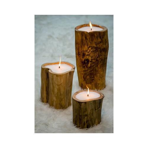 die Faktorei »Baum-Kerzen« 3er-Set Recycling-Holz