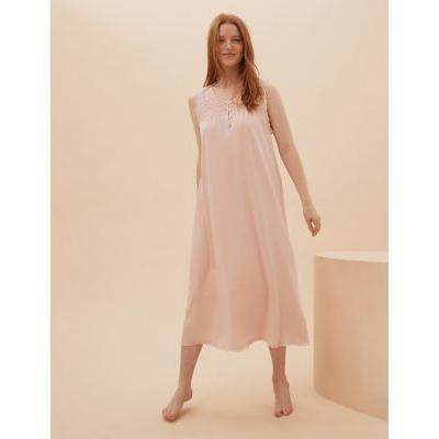Womens M&S Collection Chemise de nuit longue en coton à motif brodé - Light Pink