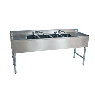 "BK Resources UB4-21-484TS 84"" Underbar Sink Unit w/ (4) Compartments - 19"" Left & Right Drainboards, Stainless Legs"