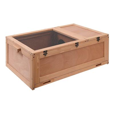 """Unipaws Tortoise House Starter Kit With Tray, Reptile Carpet And 2 Bowls, 34"""" L X 22"""" W X 12"""" H, Medium, Natural Wood"""