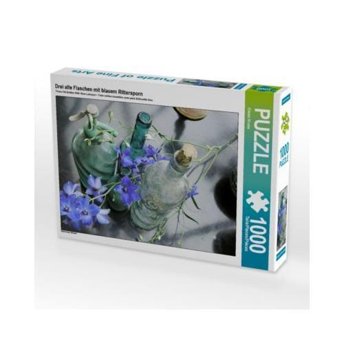 Drei alte Flaschen mit blauem Rittersporn Foto-Puzzle Bild von Gisela Kruse Puzzle