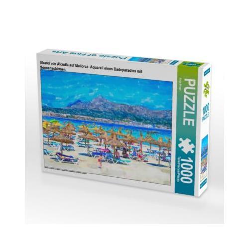 Strand von Alcudia auf Mallorca. Aquarell eines Badeparadies mit Sonnenschirmen. Foto-Puzzle Bild von Anja Frost Puzzle