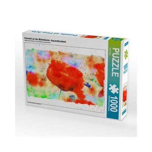 Hummel an der Mohnblume. Aquarellmalerei Foto-Puzzle Bild von Anja Frost Puzzle