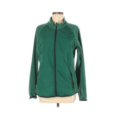 Assorted Brands Fleece Jacket: Green Solid Jackets & Outerwear - Size Medium