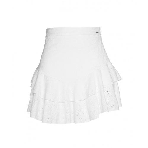 Guess Damen Spitzenrock mit Volants Weiß