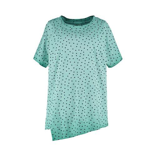 Deerberg Damen Jersey-Shirt Kimmi smaragdgrün-gepunktet