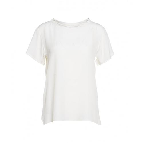 Ottod ame Damen T-Shirt aus Seide Weiß