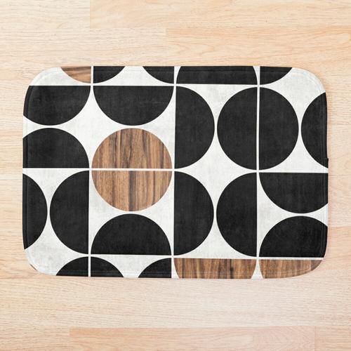 Mid-Century Modern Pattern No.1 - Beton und Holz Badematte