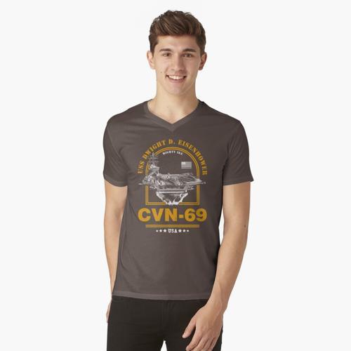 CVN-69 USS Dwight D. Eisenhower t-shirt:vneck