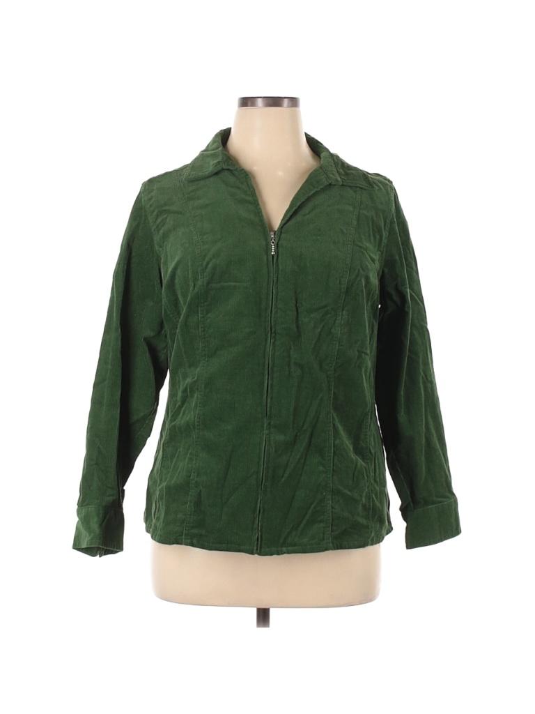 DressBarn Jacket: Green Solid Jackets & Outerwear - Used - Size 14