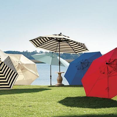 Auto Tilt Patio Umbrella Canopy Stripe Cornflower/White Sunbrella - Ballard Designs