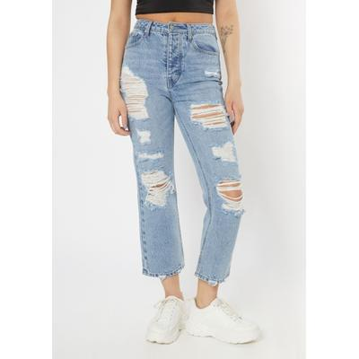 Rue21 Womens Light Wash Ripped High Waisted Dad Jeans - Size 7