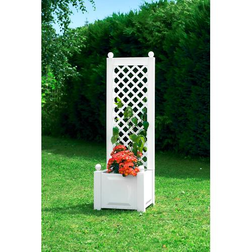 KHW Spalier, 2 tlg. mit Pflanzkasten, BxTxH: 43x43x140 cm weiß Spaliere Gartendekoration Gartenmöbel Gartendeko Spalier