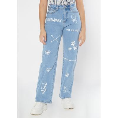 Rue21 Womens Light Wash Doodle Print Super High Waisted Skate Jeans - Size 14